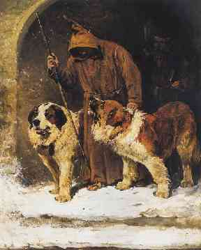 Painting by John Emms portraying two St. Bernards as rescue dogs.