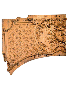 Wood panel: Fragment preserved from first-class lounge of the Titanic.
