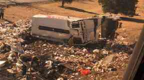 The rubbish truck after the collision.