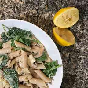 Creamy gluten free, dairy free mushroom pasta.