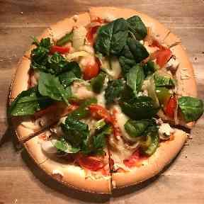 Gluten free, dairy free pizza.