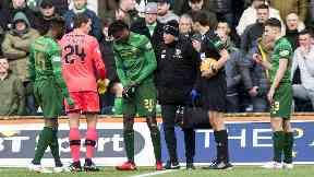 Celtic defender Dedryck Boyata (cemtre) leaves the field against Kilmarnock.