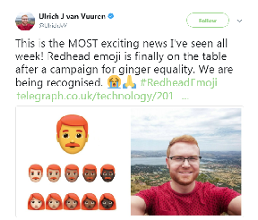 Ginger equality: Exciting news.