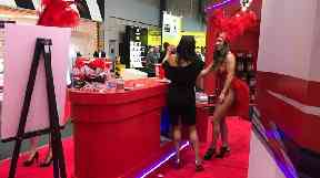 One stand at the event last year adopted a Las Vegas theme featuring Las Vegas-style showgirls.
