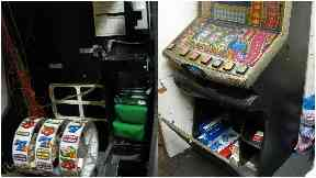 Raid: Tobacco and cigarettes were found concealed in a fruit machine.