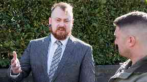 Mark Meechan: YouTuber with supporter Tommy Robinson outside court.
