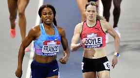 Eilidh Doyle (right) finished second in the women's 400m at February's Indoor Grand Prix.