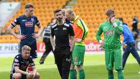 Stuart Kettlewell and his players reflect at full-time following Ross County's relegation.
