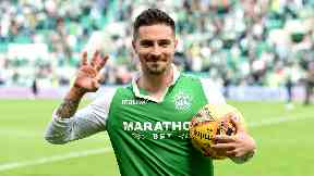 Jamie Maclaren scored a hat-trick against Rangers on Sunday.