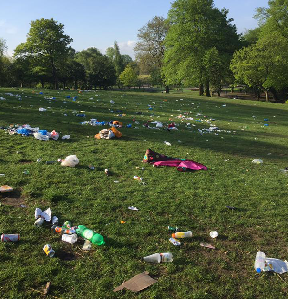 Rubbish: Litter all over the grass at Kelvingrove Park.