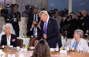 Trump arriving late to a Gender Equality Advisory Council breakfast.