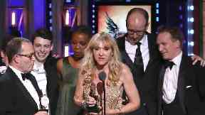 Producer Sonia Friedman and the cast and crew of Harry Potter And The Cursed Child accept the award for best play at the 72nd annual Tony Awards.