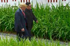 The two leaders took a brief walk together following lunch.