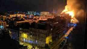 Fire: Blaze has ripped through building.