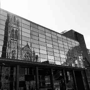 A Glasgow building mirrors the nearby architecture.
