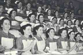Nurses attending a prizegiving at the Royal Infirmary of Edinburgh in 1948.