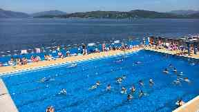 Gourock: Swimmers enjoy outside pool.