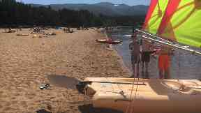 Loch Morlich: Catching rays on the beach.