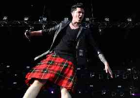 Danny O'Donoghue from The Script also wore tartan on stage