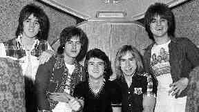 Pop idols: Alan Longmuir (second from left) during the height of Rollermania.