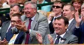 Sir Alex Ferguson celebrates as Andy Murray defeats Fernando Verdasco.