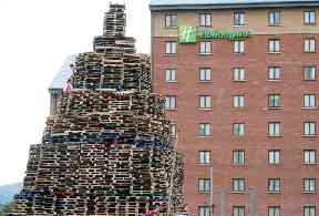 A bonfire outside a Holiday Inn in Belfast