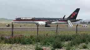 Trump plane: Landed in Aberdeen on Thursday morning.