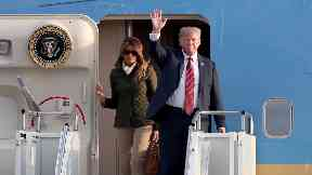 Trump and wife Melania arrive at Prestwick.