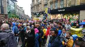 Glasgow: Dozens protest against Serco evictions.