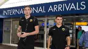 The Athens squad landed before training at Parkhead.