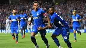 On the spot: James Tavernier celebrates after putting Rangers in-front from the penalty spot.
