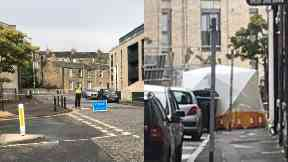 Leith: Tent erected on street.