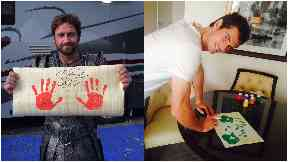 Hand prints: Support from other celebrities.