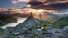 Mountain view: Sunset over Loch Katrine from Ben A'an.