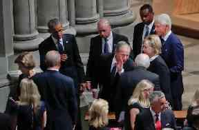Former presidents attend the memorial service for John McCain