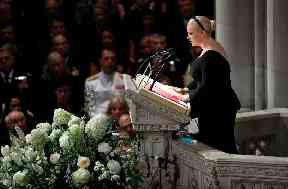 Meghan McCain speaks at a memorial service for her father
