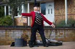 A Greatest Showman themed scarecrow on display Harpole Villiage in Northampton, as they host the 21st annual Harpole Scarecrow Festival