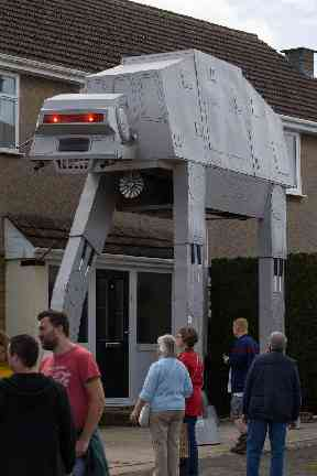 A Star Wars AT-AT scarecrow at the 21st annual Harpole Scarecrow Festival