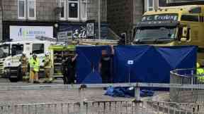 Scene: Woman dies after being struck by lorry.