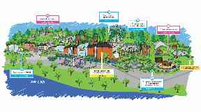 Plan: Graphic shows the proposed new facilities.