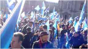 Marchers: Thousands descended on Edinburgh.