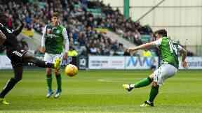 Double: Stevie Mallan scored twice as Hibs ran riot.