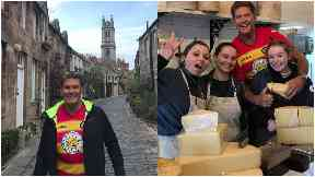 Superstar: David Hasselhoff wore a Partick Thistle strip in Edinburgh.
