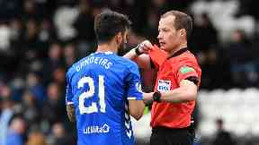 Dismissed: Candeias is sent off by Willie Collum.