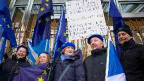 Brexit: Pro-EU protesters outside Holyrood ahead of Wednesday's vote.