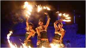 Performance: Members of Scotland's Celtic Fire Theatre show off their skills