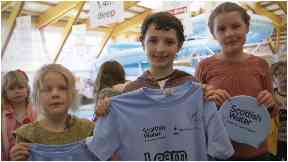 The three pupils from Fair Isle primary travel by plane to the Shetland mainland.