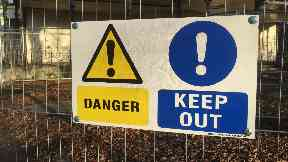 Danger: The building has been cordoned off.
