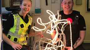 Found: PC Lucy Cuthbert and PC Sean Horne with Rudolph.