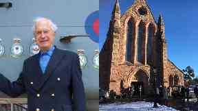Tributes: Captain Macintosh visiting his old squadron and, right, funeral at Crieff Parish Church.